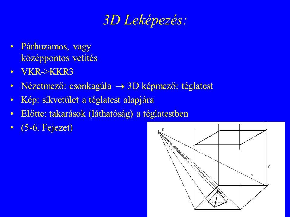 3D Leképezés: Párhuzamos, vagy középpontos vetítés VKR->KKR3 Nézetmező: csonkagúla  3D képmező: téglatest Kép: síkvetület a téglatest alapjára Előtte