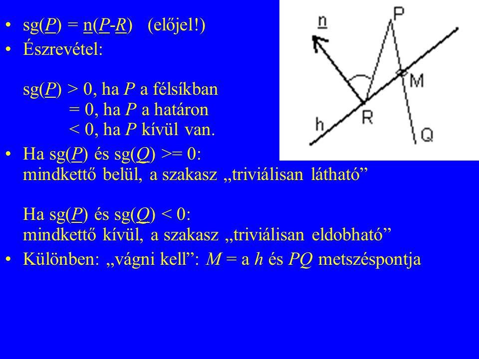 sg(P) = n(P-R) (előjel!) Észrevétel: sg(P) > 0, ha P a félsíkban = 0, ha P a határon < 0, ha P kívül van. Ha sg(P) és sg(Q) >= 0: mindkettő belül, a s