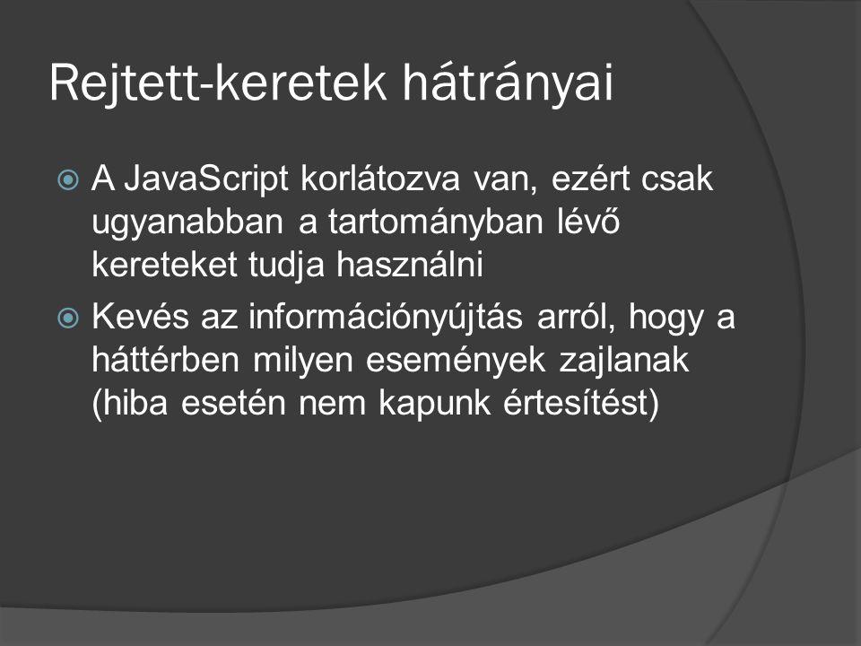 Rejtett-keretek hátrányai  A JavaScript korlátozva van, ezért csak ugyanabban a tartományban lévő kereteket tudja használni  Kevés az információnyújtás arról, hogy a háttérben milyen események zajlanak (hiba esetén nem kapunk értesítést)