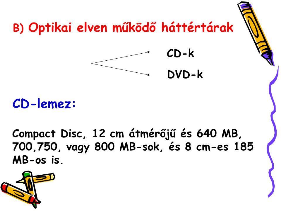 B) Optikai elven működő háttértárak CD-k DVD-k CD-lemez: Compact Disc, 12 cm átmérőjű és 640 MB, 700,750, vagy 800 MB-sok, és 8 cm-es 185 MB-os is.