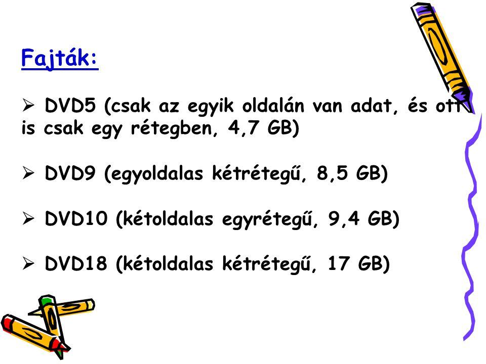 Fajták:  DVD5 (csak az egyik oldalán van adat, és ott is csak egy rétegben, 4,7 GB)  DVD9 (egyoldalas kétrétegű, 8,5 GB)  DVD10 (kétoldalas egyrétegű, 9,4 GB)  DVD18 (kétoldalas kétrétegű, 17 GB)
