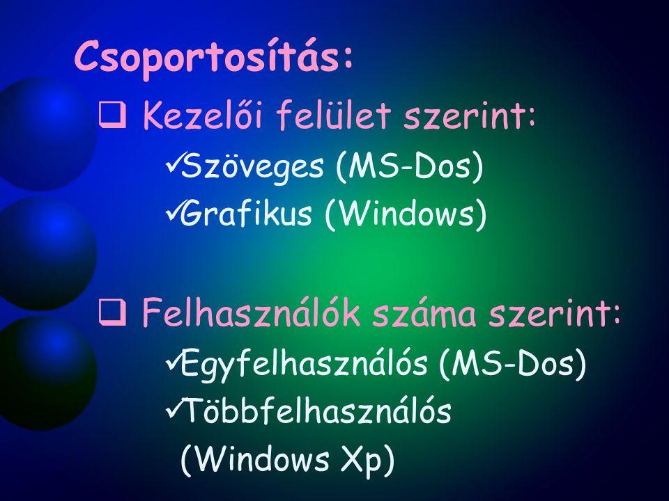 Csoportosítás:  Kezelői felület szerint: Szöveges (MS-Dos) Grafikus (Windows)  Felhasználók száma szerint: Egyfelhasználós (MS-Dos) Többfelhasználós