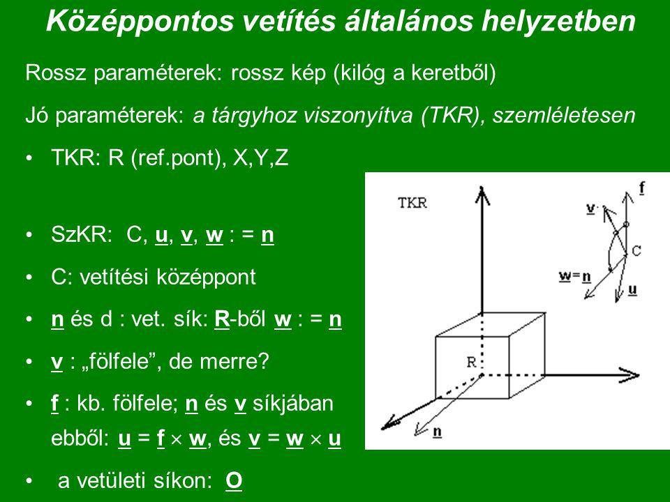 Középpontos vetítés általános helyzetben Rossz paraméterek: rossz kép (kilóg a keretből) Jó paraméterek: a tárgyhoz viszonyítva (TKR), szemléletesen T