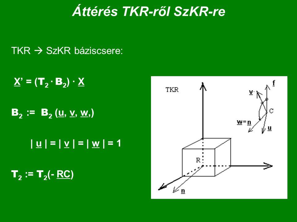 Áttérés TKR-ről SzKR-re TKR  SzKR báziscsere: X' = ( T 2 · B 2 ) · X B 2 := B 2 (u, v, w,) | u | = | v | = | w | = 1 T 2 := T 2 (- RC)