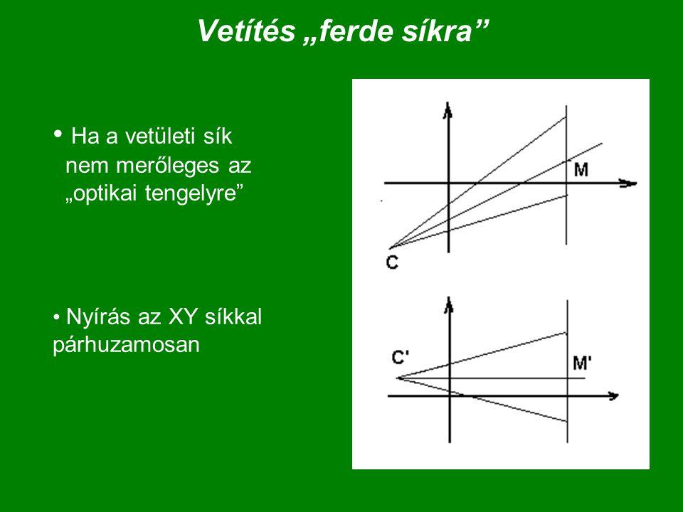 """Vetítés """"ferde síkra"""" Ha a vetületi sík nem merőleges az """"optikai tengelyre"""" Nyírás az XY síkkal párhuzamosan"""