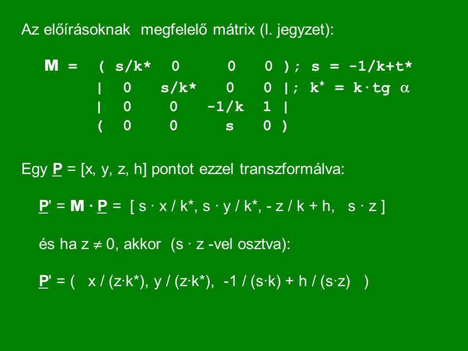 Az előírásoknak megfelelő mátrix (l. jegyzet): M = ( s/k* 0 0 0 ); s = -1/k+t* | 0 s/k* 0 0 |; k * = k·tg  | 0 0 -1/k 1 | ( 0 0 s 0 ) Egy P = [x, y,
