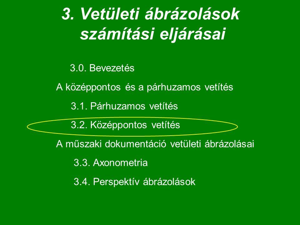 3.0. Bevezetés A középpontos és a párhuzamos vetítés 3.1. Párhuzamos vetítés 3.2. Középpontos vetítés A műszaki dokumentáció vetületi ábrázolásai 3.3.