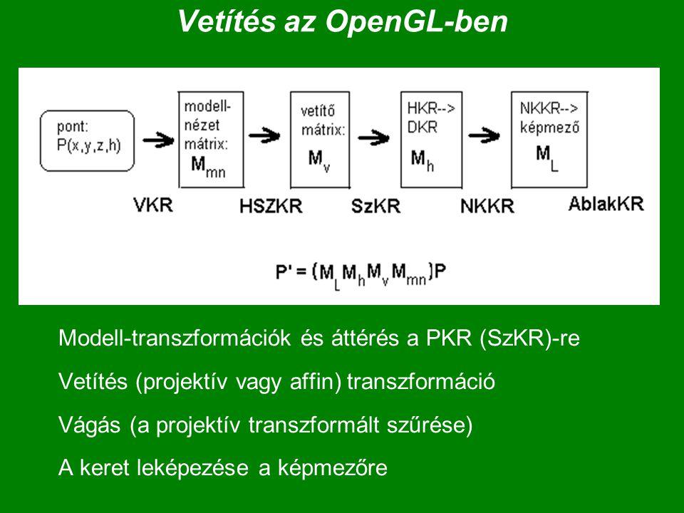 Vetítés az OpenGL-ben Modell-transzformációk és áttérés a PKR (SzKR)-re Vetítés (projektív vagy affin) transzformáció Vágás (a projektív transzformált