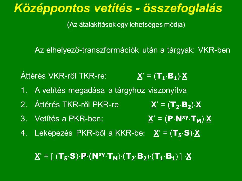 Középpontos vetítés - összefoglalás ( Az átalakítások egy lehetséges módja) Az elhelyező-transzformációk után a tárgyak: VKR-ben Áttérés VKR-ről TKR-r