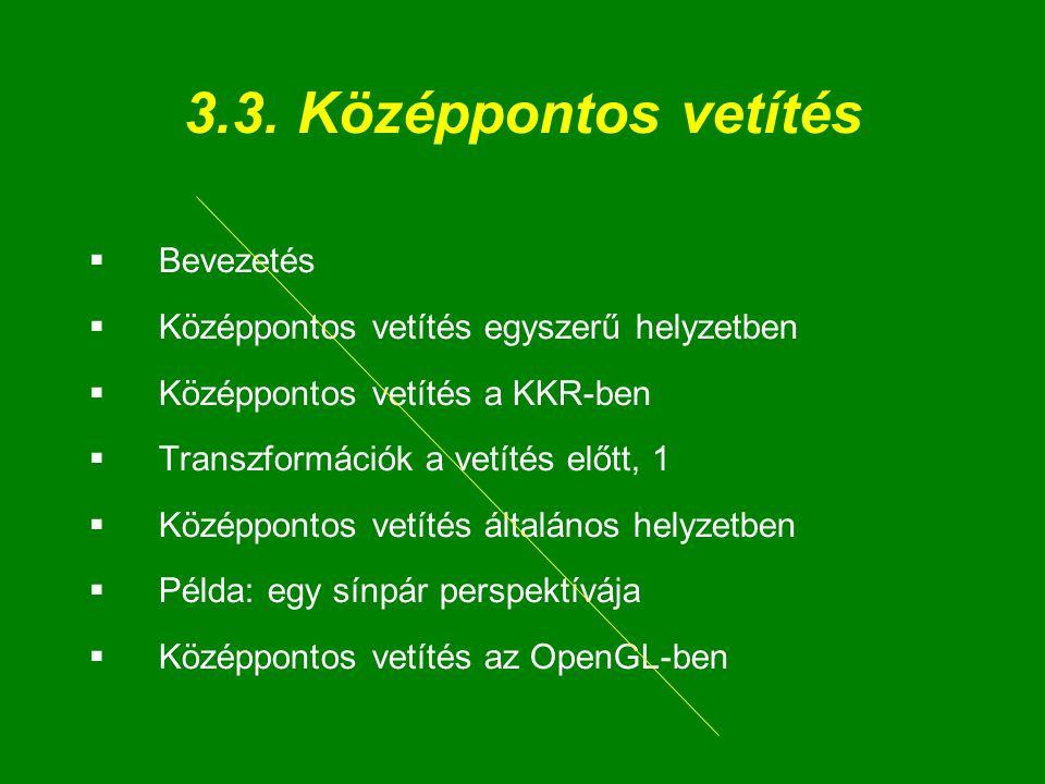 3.3. Középpontos vetítés  Bevezetés  Középpontos vetítés egyszerű helyzetben  Középpontos vetítés a KKR-ben  Transzformációk a vetítés előtt, 1 