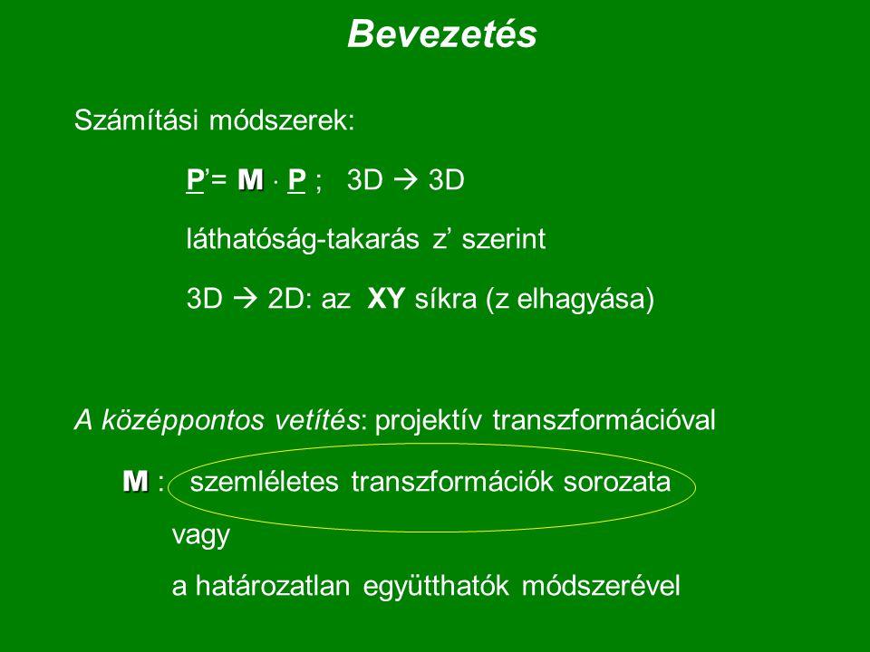 Bevezetés Számítási módszerek: M P'= M  P ; 3D  3D láthatóság-takarás z' szerint 3D  2D: az XY síkra (z elhagyása) A középpontos vetítés: projektív