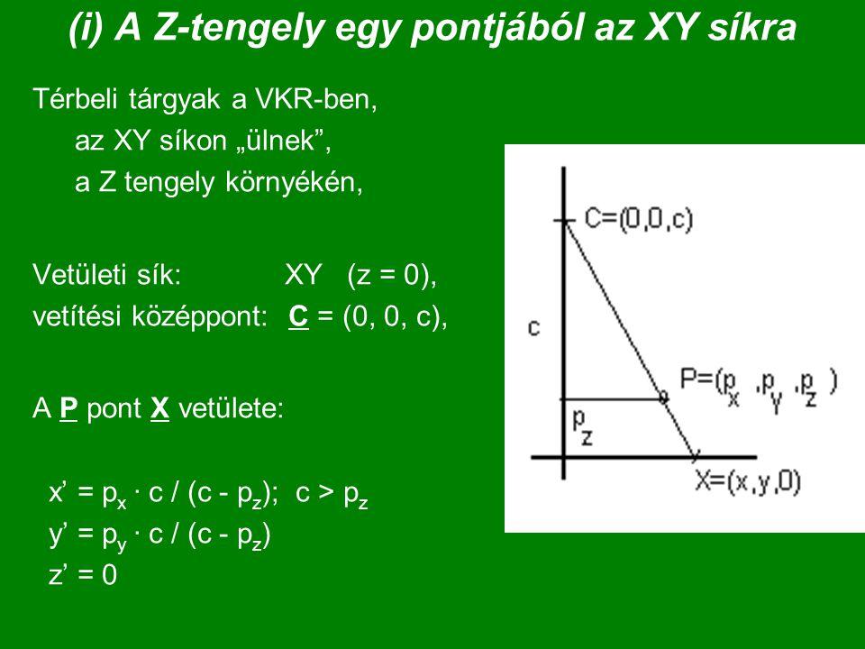 (ii) A kamera koordináta-rendszerében C az origóban A vetületi sík: z = d (|| XY) A tárgyon X = (x, y, z, 1) X' vetülete: x' = x  d / z; z > 0, y' = y  d / z [ z' = (z-d) / z ] X' = M  X = ( d 0 0 0 )  (x) = ( dx ) ~ ( d  x / z) | 0 d 0 0 | |y| | dy | | d  y / z | | 0 0 1 –d | |z| | z-d | | (z-d)/ z | ( 0 0 1 0 ) (1) ( z ) ( 1 )