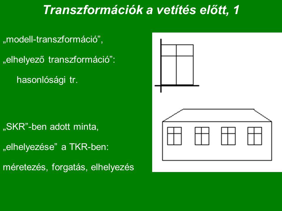 """Transzformációk a vetítés előtt, 1 """"modell-transzformáció"""", """"elhelyező transzformáció"""": hasonlósági tr. """"SKR""""-ben adott minta, """"elhelyezése"""" a TKR-ben"""