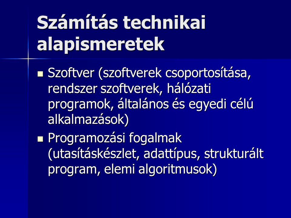 Számítás technikai alapismeretek Szoftver (szoftverek csoportosítása, rendszer szoftverek, hálózati programok, általános és egyedi célú alkalmazások)