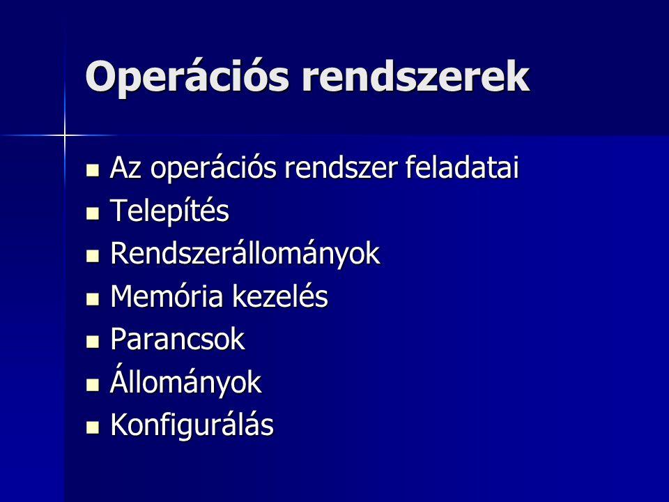 Operációs rendszerek Az operációs rendszer feladatai Az operációs rendszer feladatai Telepítés Telepítés Rendszerállományok Rendszerállományok Memória