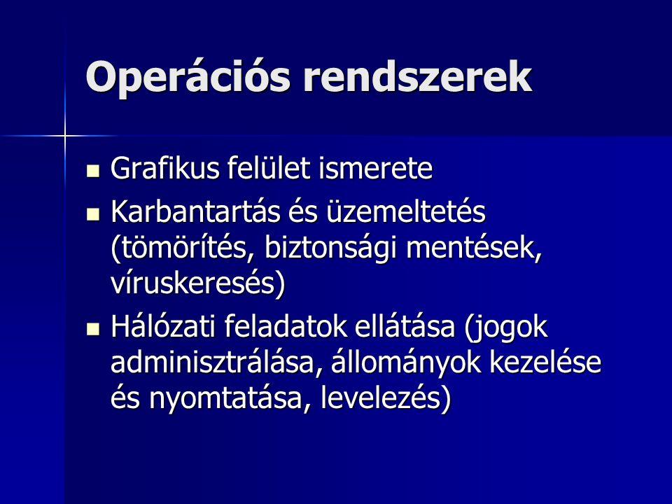 Operációs rendszerek Grafikus felület ismerete Grafikus felület ismerete Karbantartás és üzemeltetés (tömörítés, biztonsági mentések, víruskeresés) Ka