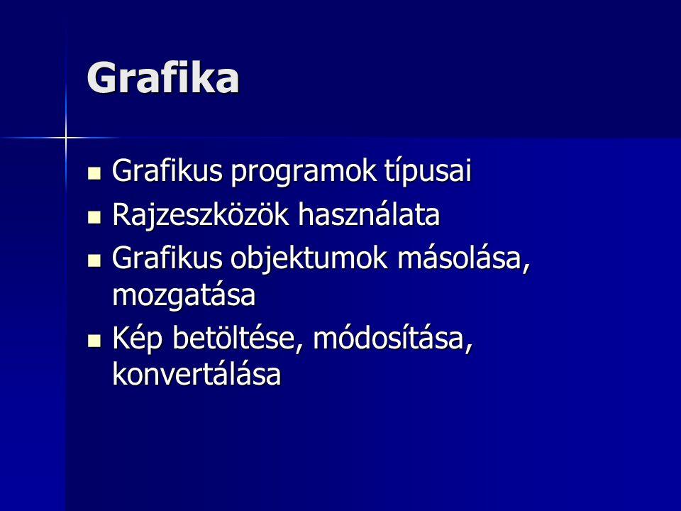 Grafika Grafikus programok típusai Grafikus programok típusai Rajzeszközök használata Rajzeszközök használata Grafikus objektumok másolása, mozgatása