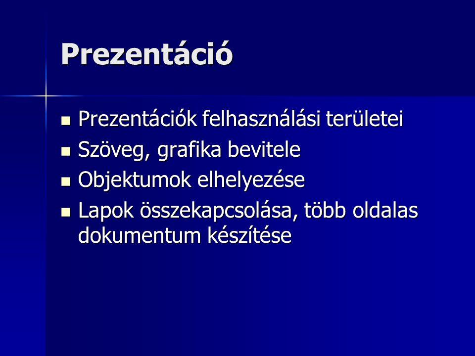 Prezentáció Prezentációk felhasználási területei Prezentációk felhasználási területei Szöveg, grafika bevitele Szöveg, grafika bevitele Objektumok elh