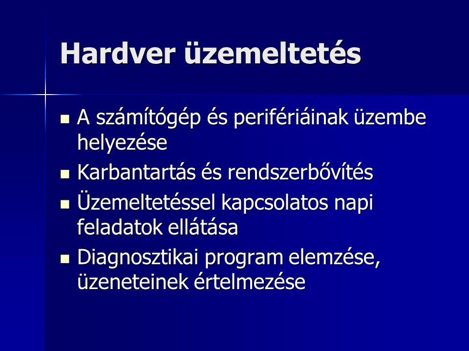 Hardver üzemeltetés A számítógép és perifériáinak üzembe helyezése A számítógép és perifériáinak üzembe helyezése Karbantartás és rendszerbővítés Karb