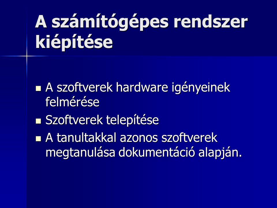 A számítógépes rendszer kiépítése A szoftverek hardware igényeinek felmérése A szoftverek hardware igényeinek felmérése Szoftverek telepítése Szoftver