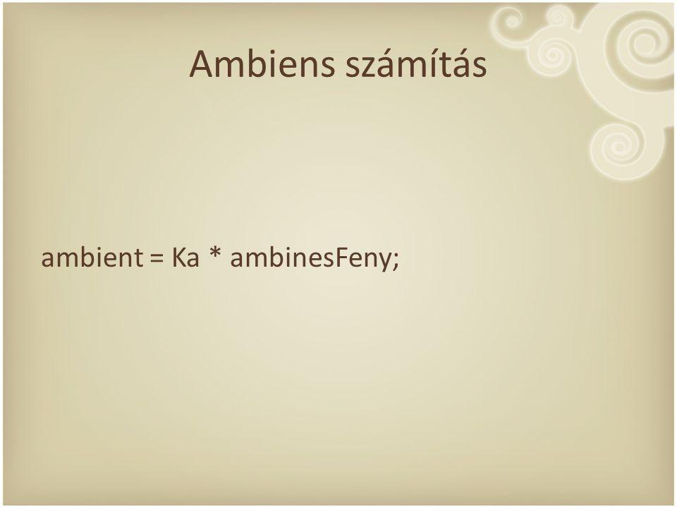 Ambiens számítás ambient = Ka * ambinesFeny;