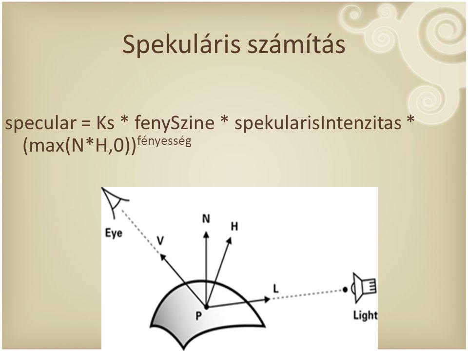 Spekuláris számítás specular = Ks * fenySzine * spekularisIntenzitas * (max(N*H,0)) fényesség