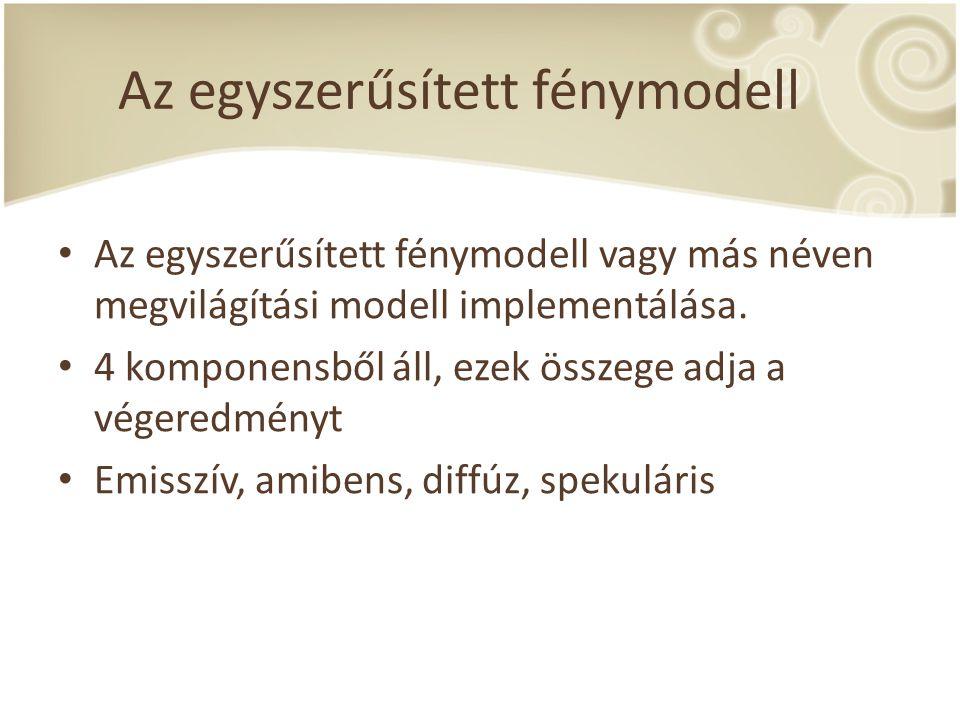 Az egyszerűsített fénymodell Az egyszerűsített fénymodell vagy más néven megvilágítási modell implementálása.