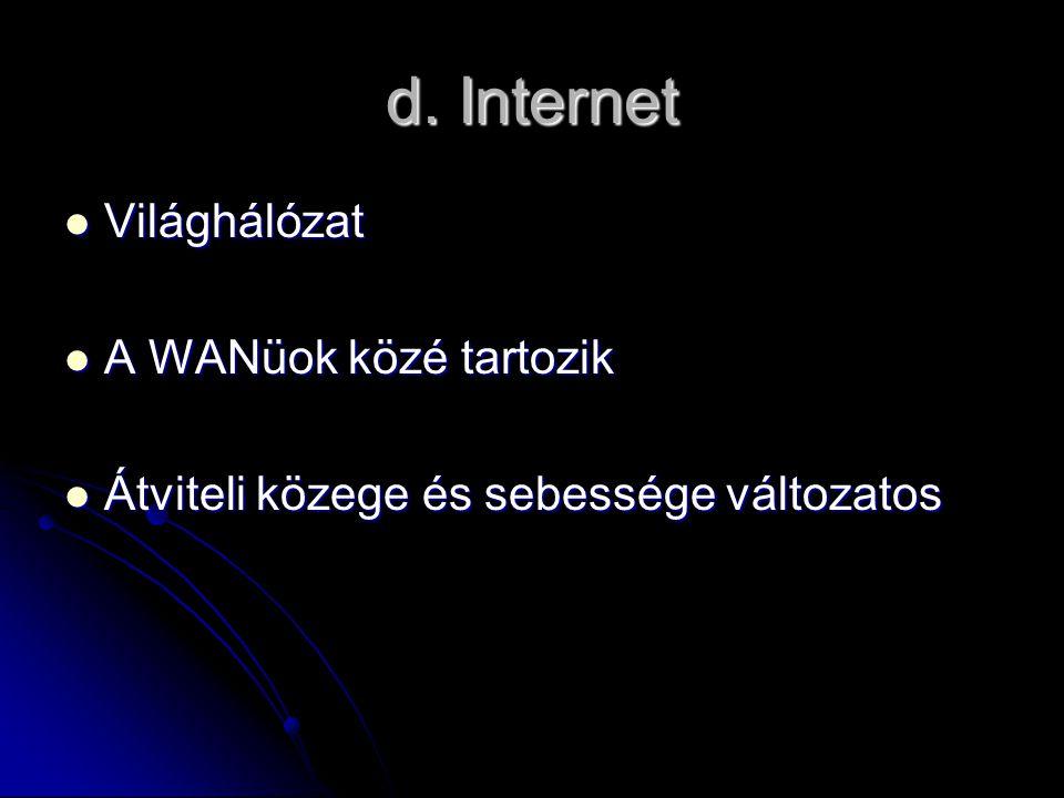 d. Internet Világhálózat Világhálózat A WANüok közé tartozik A WANüok közé tartozik Átviteli közege és sebessége változatos Átviteli közege és sebessé