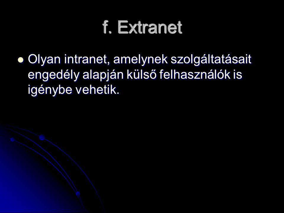 f. Extranet Olyan intranet, amelynek szolgáltatásait engedély alapján külső felhasználók is igénybe vehetik. Olyan intranet, amelynek szolgáltatásait