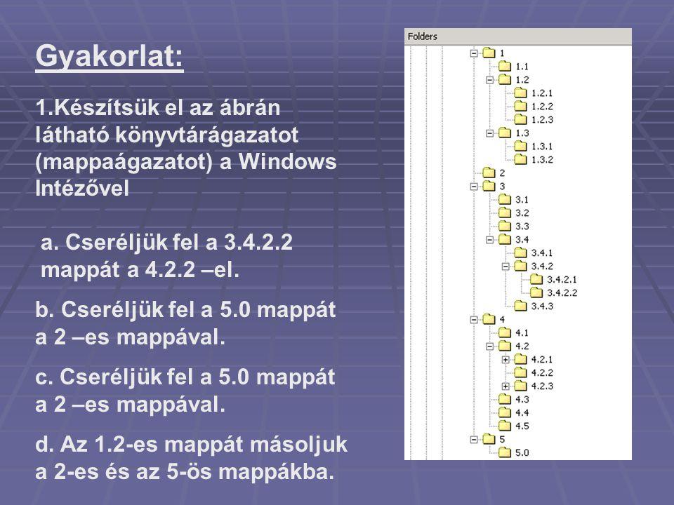 Gyakorlat: 1.Készítsük el az ábrán látható könyvtárágazatot (mappaágazatot) a Windows Intézővel a. Cseréljük fel a 3.4.2.2 mappát a 4.2.2 –el. b. Cser