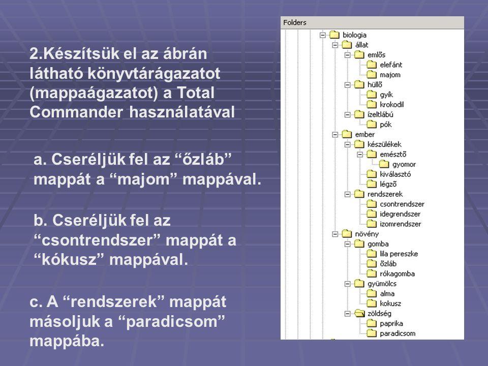 """2.Készítsük el az ábrán látható könyvtárágazatot (mappaágazatot) a Total Commander használatával a. Cseréljük fel az """"őzláb"""" mappát a """"majom"""" mappával"""