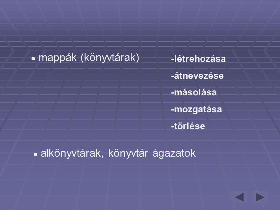 ● mappák (könyvtárak) -létrehozása -átnevezése -másolása -mozgatása -törlése ● alkönyvtárak, könyvtár ágazatok