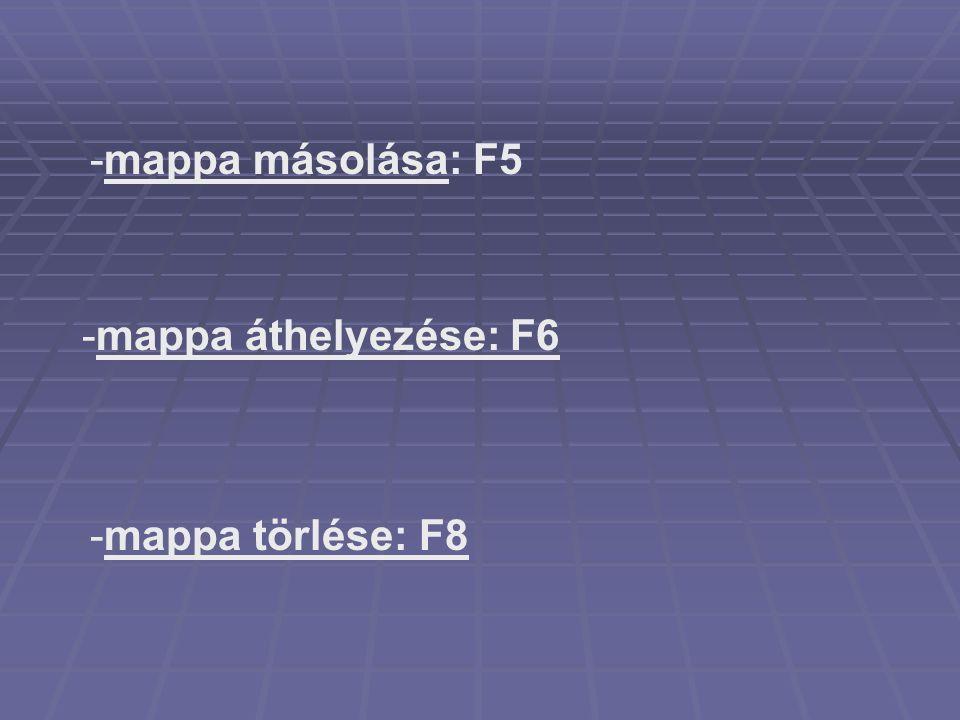 -mappa másolása: F5 -mappa törlése: F8 -mappa áthelyezése: F6