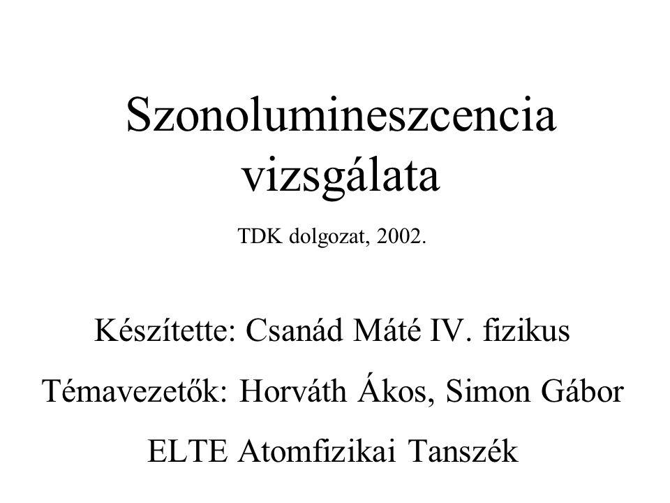 Szonolumineszcencia vizsgálata TDK dolgozat, 2002. Készítette: Csanád Máté IV. fizikus Témavezetők: Horváth Ákos, Simon Gábor ELTE Atomfizikai Tanszék