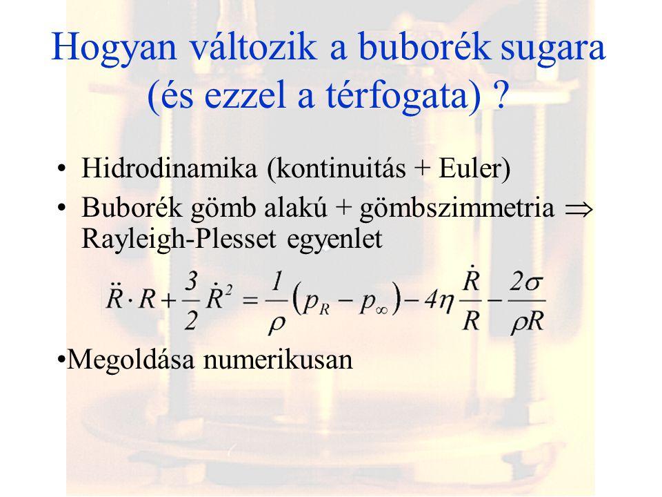 Hogyan változik a buborék sugara (és ezzel a térfogata) ? Hidrodinamika (kontinuitás + Euler) Buborék gömb alakú + gömbszimmetria  Rayleigh-Plesset e