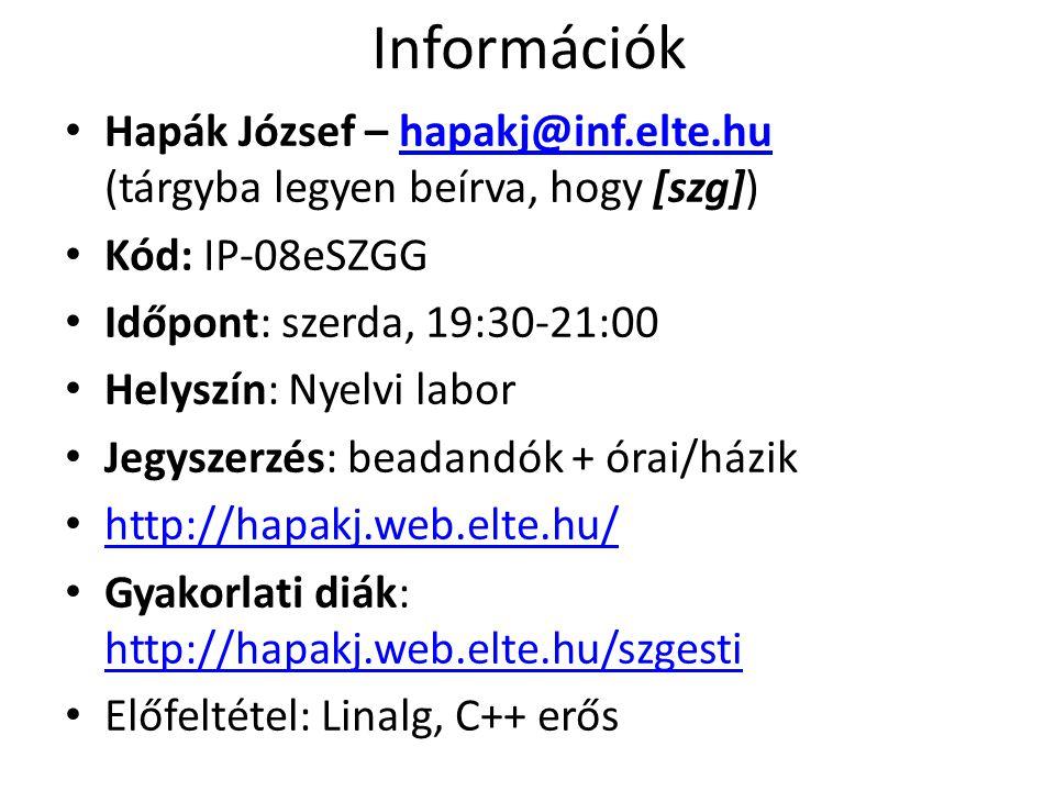 Információk Hapák József – hapakj@inf.elte.hu (tárgyba legyen beírva, hogy [szg])hapakj@inf.elte.hu Kód: IP-08eSZGG Időpont: szerda, 19:30-21:00 Helyszín: Nyelvi labor Jegyszerzés: beadandók + órai/házik http://hapakj.web.elte.hu/ Gyakorlati diák: http://hapakj.web.elte.hu/szgesti http://hapakj.web.elte.hu/szgesti Előfeltétel: Linalg, C++ erős