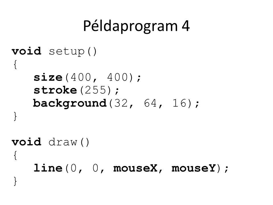 Példaprogram 4 void setup() { size(400, 400); stroke(255); background(32, 64, 16); } void draw() { line(0, 0, mouseX, mouseY); }