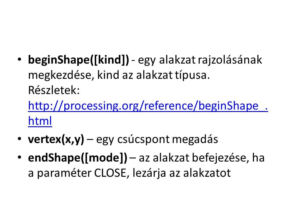 beginShape([kind]) - egy alakzat rajzolásának megkezdése, kind az alakzat típusa.