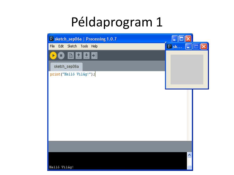 Példaprogram 3' size(400, 400); color bg = color(192, 64, 0); color st = color(255); background(bg); stroke(st); line(150, 25, 270, 350);