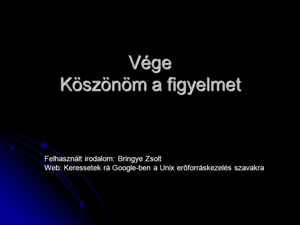 Vége Köszönöm a figyelmet Felhasznált irodalom: Bringye Zsolt Web: Keressetek rá Google-ben a Unix erőforráskezelés szavakra
