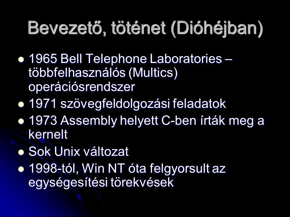Bevezető, töténet (Dióhéjban) 1965 Bell Telephone Laboratories – többfelhasználós (Multics) operációsrendszer 1965 Bell Telephone Laboratories – többfelhasználós (Multics) operációsrendszer 1971 szövegfeldolgozási feladatok 1971 szövegfeldolgozási feladatok 1973 Assembly helyett C-ben írták meg a kernelt 1973 Assembly helyett C-ben írták meg a kernelt Sok Unix változat Sok Unix változat 1998-tól, Win NT óta felgyorsult az egységesítési törekvések 1998-tól, Win NT óta felgyorsult az egységesítési törekvések