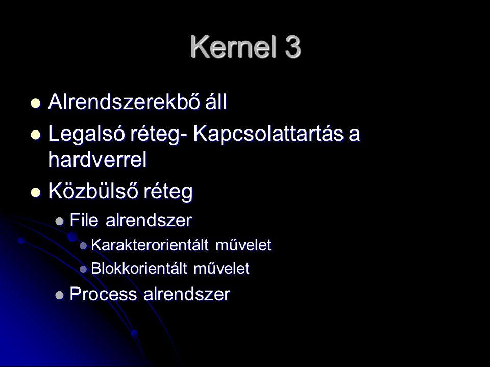 Erőforráskezelés, Processzorkezelés 1 processzoros rendszernél: várakozás- végrehajtás 1 processzoros rendszernél: várakozás- végrehajtás Több processzor –párhuzamos Több processzor –párhuzamos Kernel kezeli Kernel kezeli Rendszerhívás alkalmával kérhetnek rendszer-műveleteket Rendszerhívás alkalmával kérhetnek rendszer-műveleteket Processek Processek User mode (korlátozott) User mode (korlátozott) Kernel mód (teljes hozzáférés) Kernel mód (teljes hozzáférés)