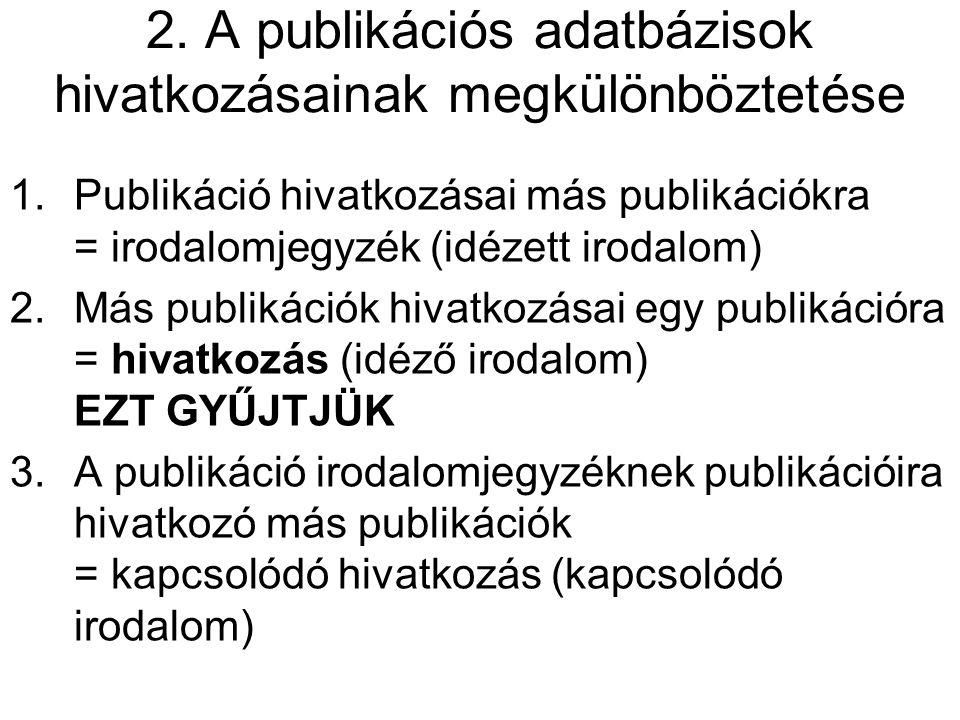 2. A publikációs adatbázisok hivatkozásainak megkülönböztetése 1.Publikáció hivatkozásai más publikációkra = irodalomjegyzék (idézett irodalom) 2.Más