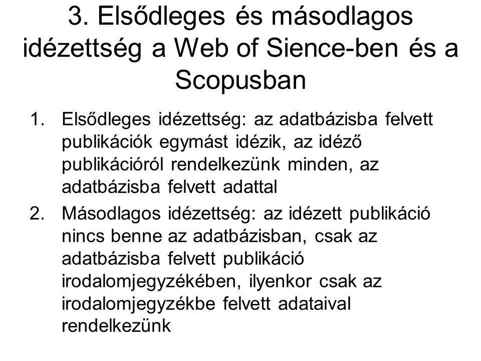 3. Elsődleges és másodlagos idézettség a Web of Sience-ben és a Scopusban 1.Elsődleges idézettség: az adatbázisba felvett publikációk egymást idézik,