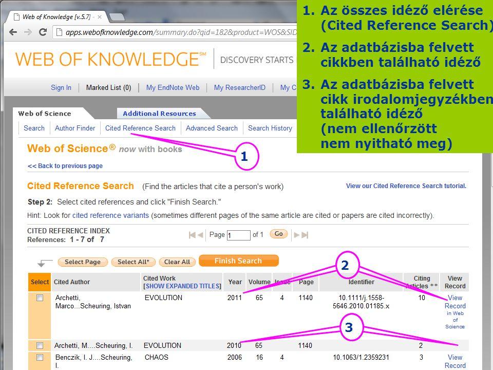 1 2 3 1.Az összes idéző elérése (Cited Reference Search) 2.Az adatbázisba felvett cikkben található idéző 3.Az adatbázisba felvett cikk irodalomjegyzé