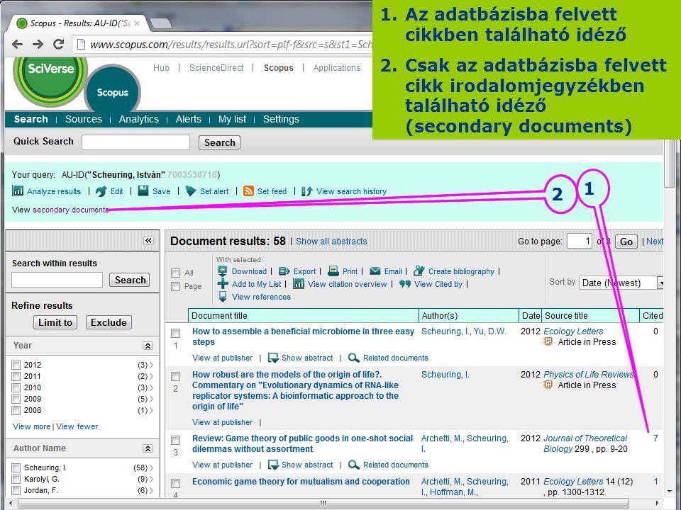 1.Az adatbázisba felvett cikkben található idéző 2.Csak az adatbázisba felvett cikk irodalomjegyzékben található idéző (secondary documents) 2 1 2
