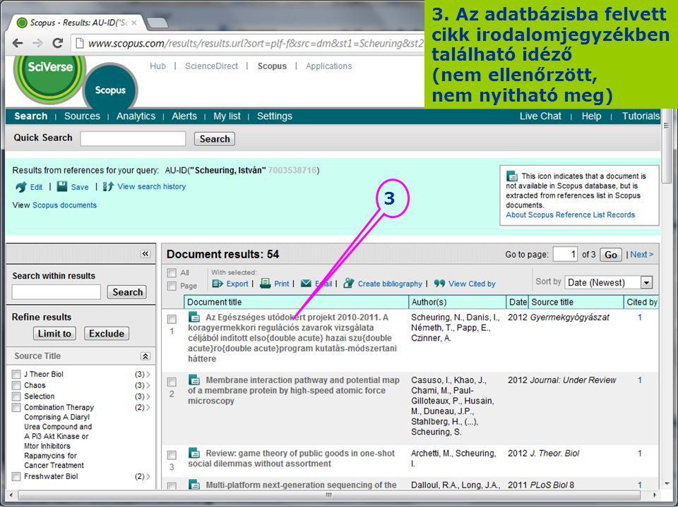 3. Az adatbázisba felvett cikk irodalomjegyzékben található idéző (nem ellenőrzött, nem nyitható meg) 3