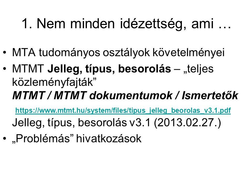 """1. Nem minden idézettség, ami … MTA tudományos osztályok követelményei MTMT Jelleg, típus, besorolás – """"teljes közleményfajták"""" MTMT / MTMT dokumentum"""