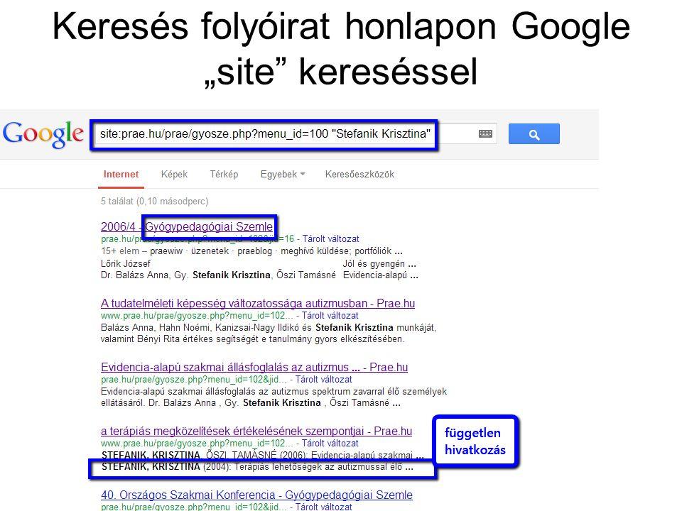"""Keresés folyóirat honlapon Google """"site"""" kereséssel"""
