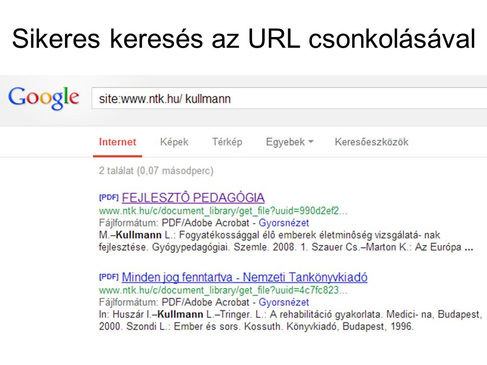 Sikeres keresés az URL csonkolásával